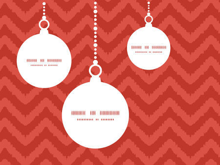 Vector colorful ikat chevron Christmas ornaments silhouettes pattern frame card template Vector