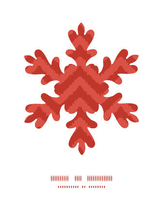 Vector colorful ikat chevron Christmas snowflake silhouette pattern frame card template Vector