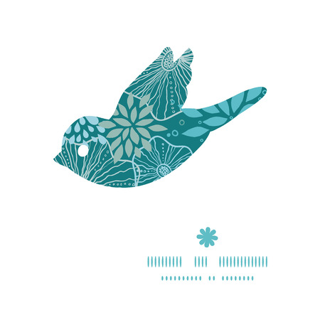 Vector blue and gray plants bird silhouette pattern frame Vector