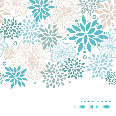 Vector blue and gray plants horizontal frame seamless pattern background Vector