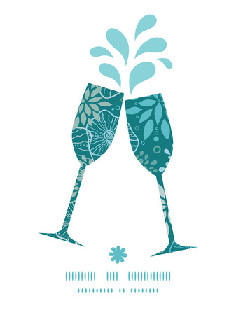 toasting wine: Vector blue and gray plants toasting wine glasses silhouettes pattern frame Illustration