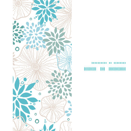 Vector blue and gray plants vertical frame seamless pattern background Vector