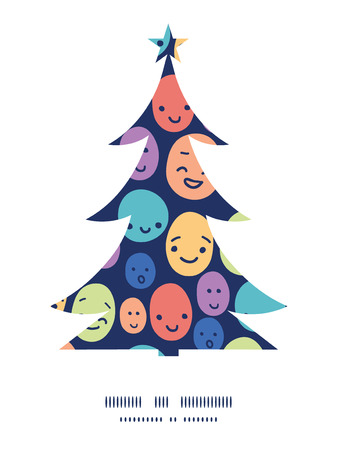 Vector funny faces Christmas tree silhouette pattern frame card template Illustration