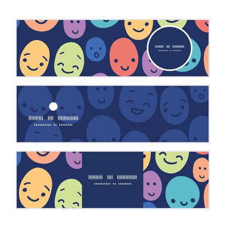 Vector funny faces horizontal banners set pattern background  イラスト・ベクター素材