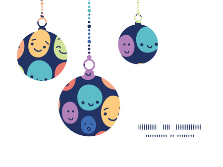 Vector funny faces Christmas ornaments silhouettes pattern frame card template  イラスト・ベクター素材