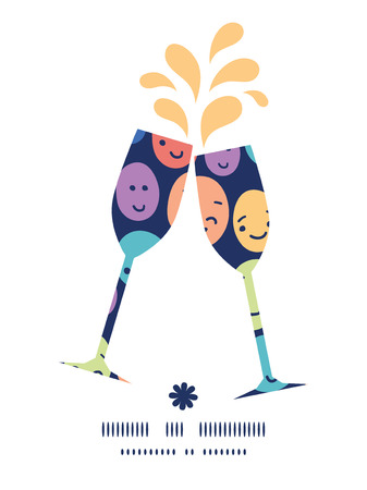 toasting wine: Vector funny faces toasting wine glasses silhouettes pattern frame