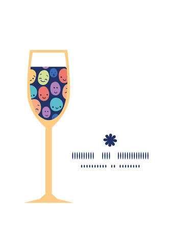 funny faces: Vector funny faces wine glass silhouette pattern frame