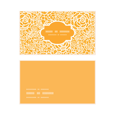 lace: Vector golden lace roses horizontal frame pattern business cards set