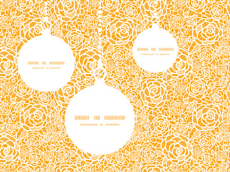 royal person: Vector golden lace roses Christmas ornaments silhouettes pattern frame card template