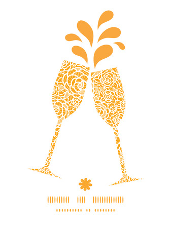 toasting wine: Vector golden lace roses toasting wine glasses silhouettes pattern frame