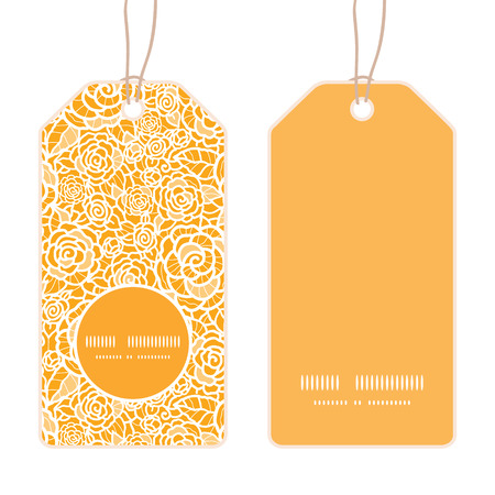 Vector golden lace roses vertical round frame pattern tags set
