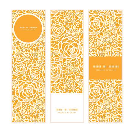 rosas blancas: Rosas de encaje de oro vector banners verticales patr�n establecido de fondo Vectores
