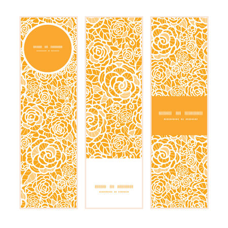 yellow roses: Vector golden lace roses vertical banners set pattern background Illustration