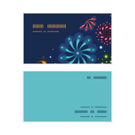 Vector holiday fireworks horizontal corner frame pattern business cards set Çizim