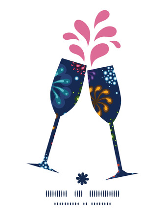 toasting wine: Vector holiday fireworks toasting wine glasses silhouettes pattern frame