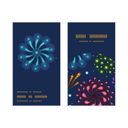 Vector holiday fireworks vertical round frame pattern business cards set