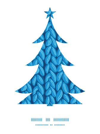 Vector knit sewater fabric horizontal texture Christmas tree silhouette pattern frame card template Illustration