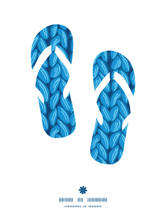scarf beach: Vector knit sewater fabric horizontal texture flip flops silhouettes pattern frame