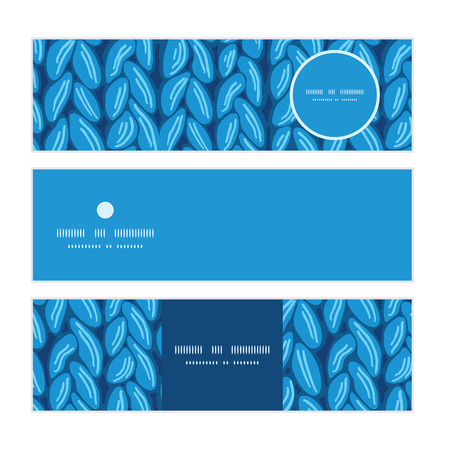 horizontal: Vector knit sewater fabric horizontal texture horizontal banners set pattern background