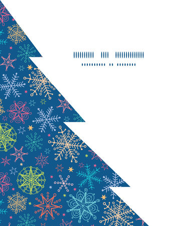 blizzards: Vector colorful doodle snowflakes Christmas tree silhouette pattern frame card template