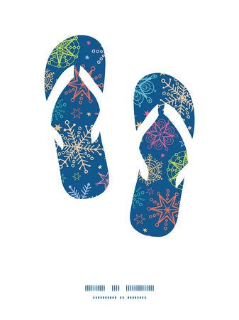 flipflops: Vector colorful doodle snowflakes flip flops silhouettes pattern frame Illustration