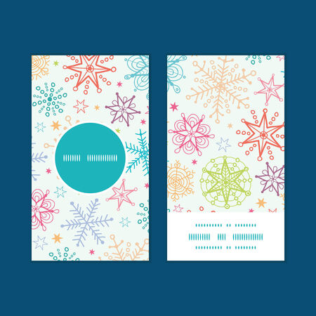 blizzards: Vector colorful doodle snowflakes vertical round frame pattern business cards set
