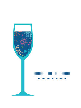 blizzards: Vector colorful doodle snowflakes wine glass silhouette pattern frame Illustration