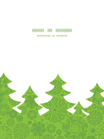 green swirl: Vector abstract green and white circles Christmas tree silhouette pattern frame card template Illustration