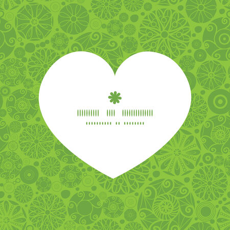 wheal: Vector abstract green and white circles heart silhouette pattern frame Illustration