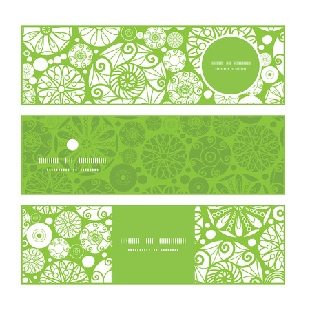 Vector abstract green and white circles horizontal banners set pattern background