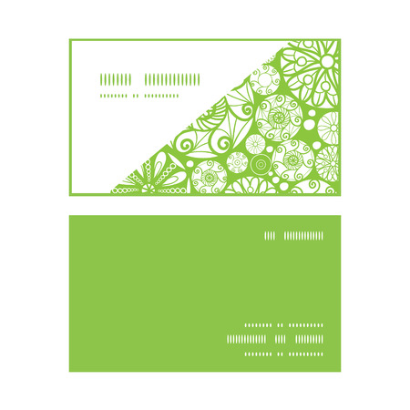 wheal: Vector abstract green and white circles horizontal corner frame pattern business cards set