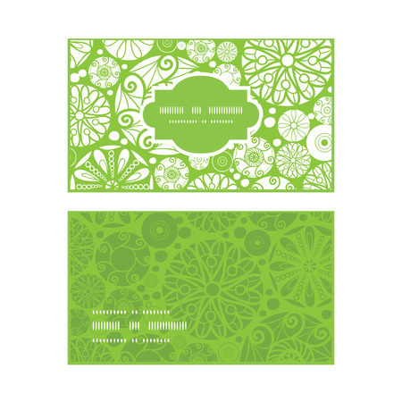wheal: Vector abstract green and white circles horizontal frame pattern business cards set