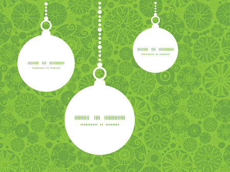 wheal: Vector abstract green and white circles Christmas ornaments silhouettes pattern frame card template Illustration