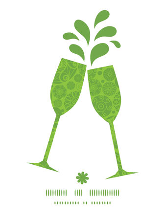wheal: Vector abstract green and white circles toasting wine glasses silhouettes pattern frame Illustration