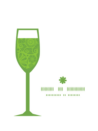 wheal: Vector abstract green and white circles wine glass silhouette pattern frame Illustration