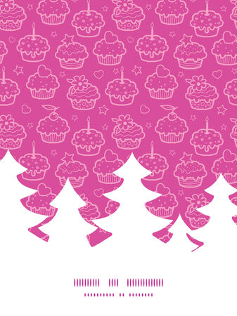 christmas cookie: Vector colorful cupcake party Christmas tree silhouette pattern frame card template