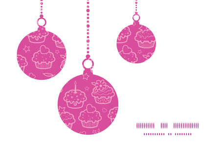 christmas cookie: Vector colorful cupcake party Christmas ornaments silhouettes pattern frame card template