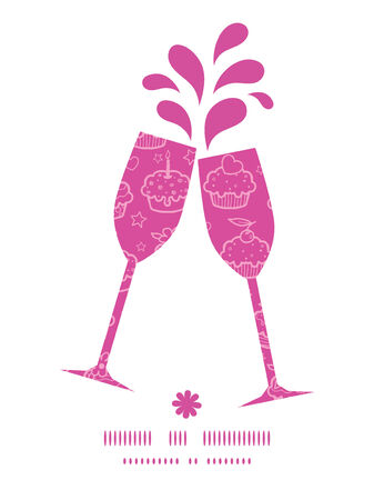 toasting wine: Vector colorful cupcake party toasting wine glasses silhouettes pattern frame