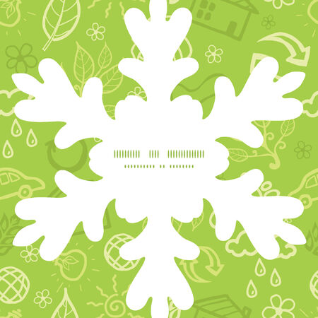 Vector environmental Christmas snowflake silhouette pattern frame card template Vector