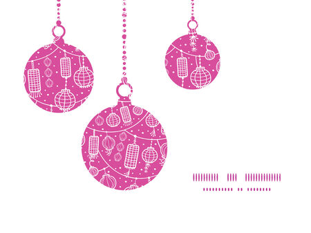 Vector holiday lanterns line art Christmas ornaments silhouettes pattern frame card template