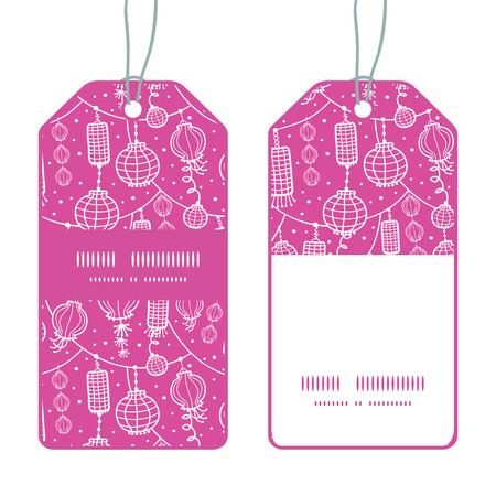 Vector holiday lanterns line art vertical stripe frame pattern tags set Vector