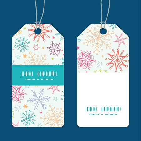 blizzards: Vector colorful doodle snowflakes vertical stripe frame pattern tags set