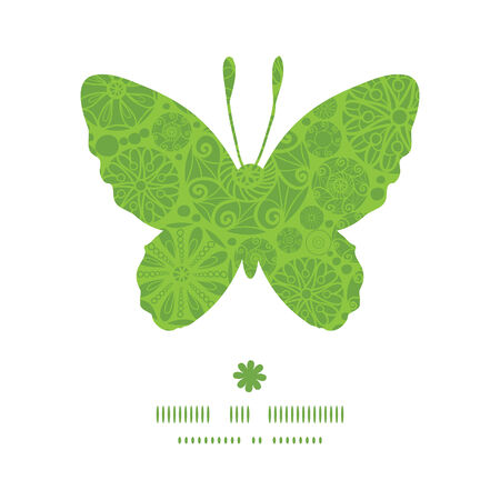 wheal: Vector abstract green and white circles butterfly silhouette pattern frame