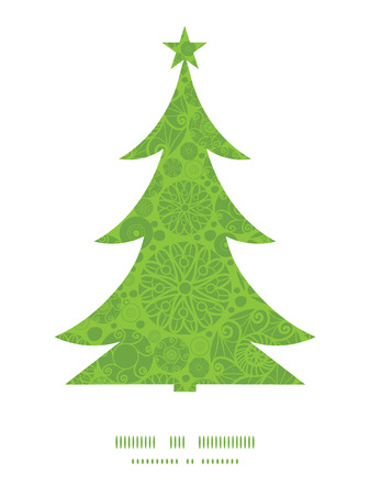 wheal: Vector abstract green and white circles Christmas tree silhouette pattern frame card template Illustration