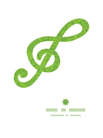 wheal: Vector abstract green and white circles g_clef musical silhouette pattern frame Illustration