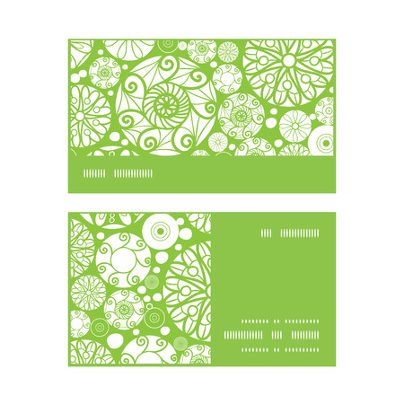 wheal: Vector abstract green and white circles horizontal stripe frame pattern business cards set