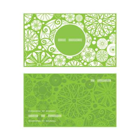 wheal: Vector abstract green and white circles vertical round frame pattern business cards set Illustration