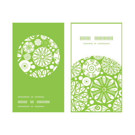 Vector abstract green and white circles vertical round frame pattern business cards set Illustration