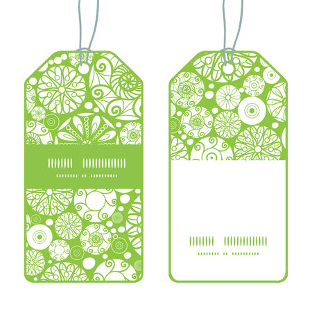wheal: Vector abstract green and white circles vertical stripe frame pattern tags set