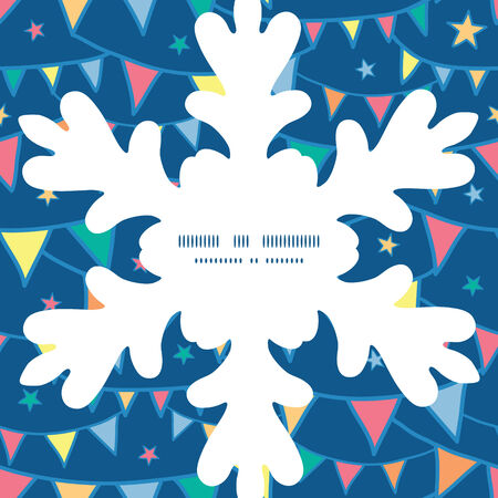 Vector colorful doodle bunting flags Christmas snowflake silhouette pattern frame card template